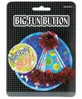 Feesthoedje verjaardag button boy hoed
