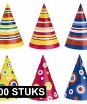Gekleurde feesthoedjes 100 stuks hoed
