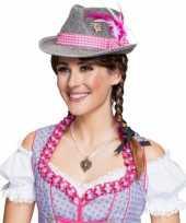 Grijze tirolerhoed met roze band hoed