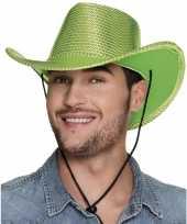 Groene cowboyhoed howdy pailletten voor volwassenen hoed