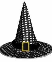 Halloween zwarte heksenhoed met stippen voor volwassenen hoed