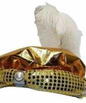 Hoed sultan goud met pluim en parel hoed