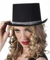 Hoge hoed zwart met steentjes voor dames