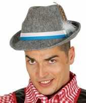 Oktoberfest grijze tiroler hoed met veer voor volwassenen