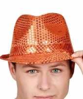 Oranje feesthoed met pailletten hoed