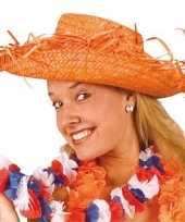 Oranje gevlechte strohoed hoed