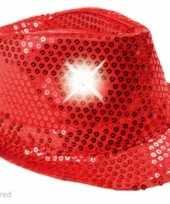 Pailletten hoedje rood met lichtjes