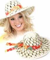 Stro hoeden met stoffen band dames