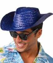 Toppers blauwe cowboy strohoed voor volwassenen hoed