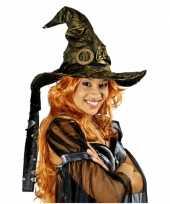 Verkleed heksenhoed met gouden glans hoed