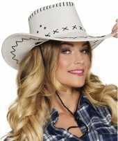Witte cowboyhoed elroy lederlook voor volwassenen hoed