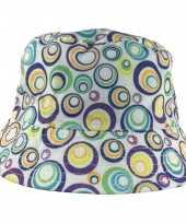 Zonnehoedje met gekleurde cirkels omkeerbaar voor baby s wit one size hoed