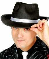 Zwarte gangster maffia trilby gleufhoed voor volwassenen hoed
