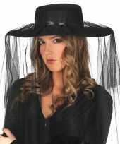 Zwarte rouwhoed met sluier hoed